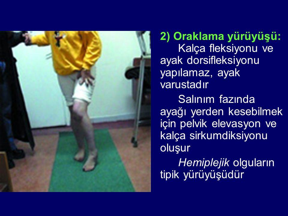 2) Oraklama yürüyüşü: Kalça fleksiyonu ve ayak dorsifleksiyonu yapılamaz, ayak varustadır