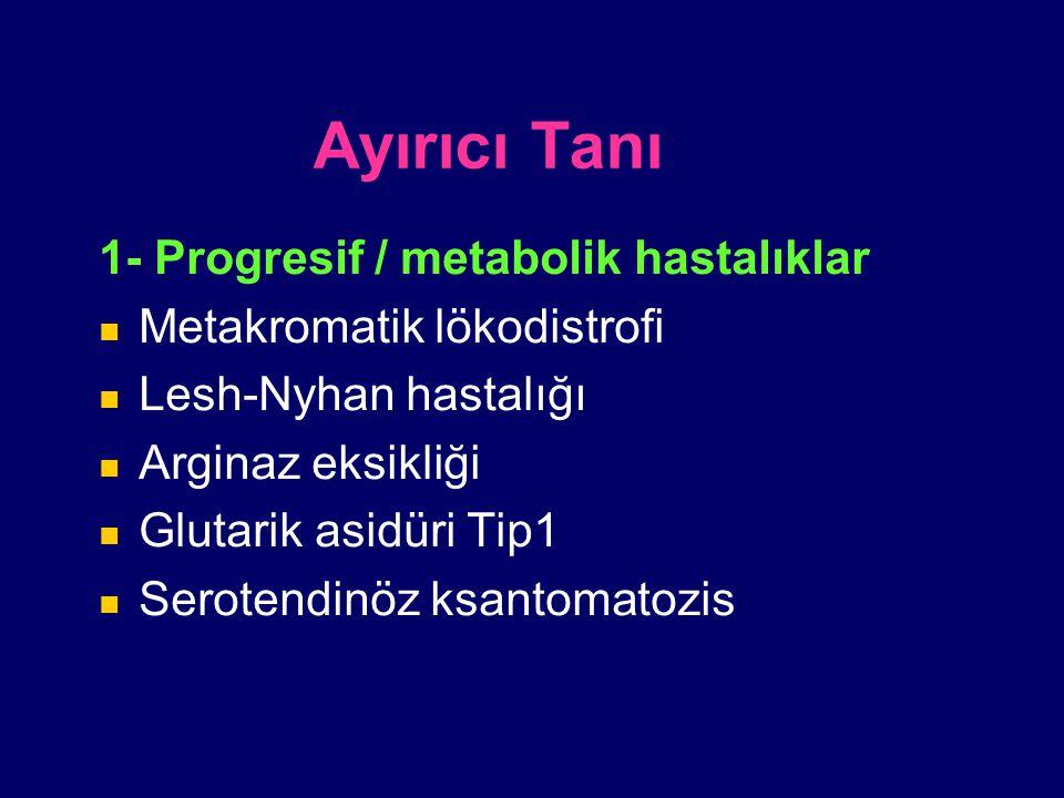 Ayırıcı Tanı 1- Progresif / metabolik hastalıklar