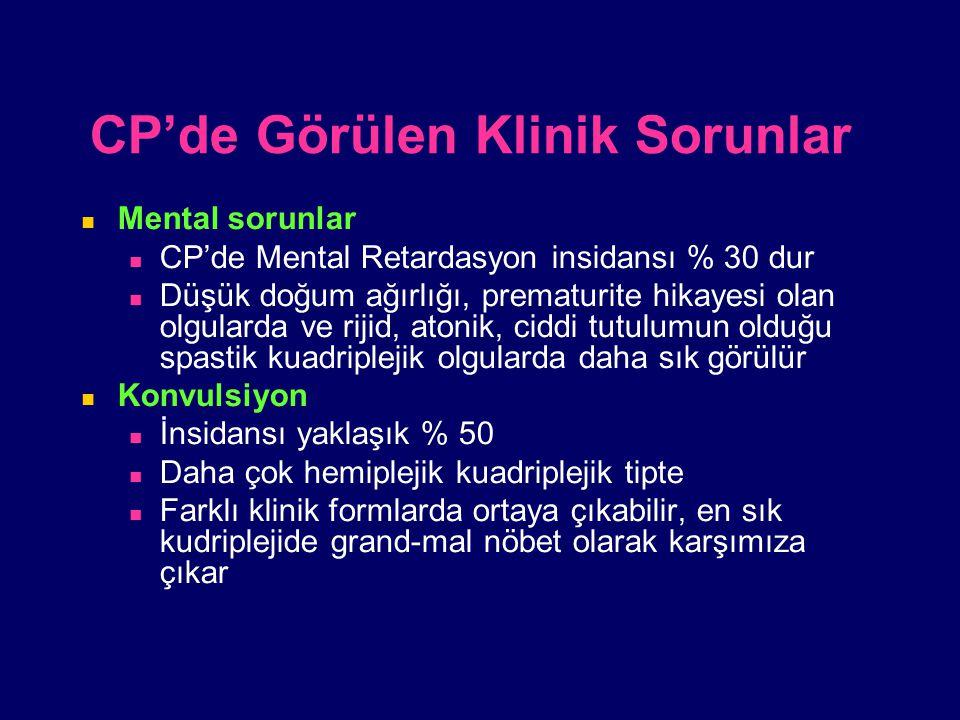 CP'de Görülen Klinik Sorunlar