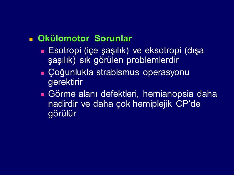 Okülomotor Sorunlar Esotropi (içe şaşılık) ve eksotropi (dışa şaşılık) sık görülen problemlerdir. Çoğunlukla strabismus operasyonu gerektirir.