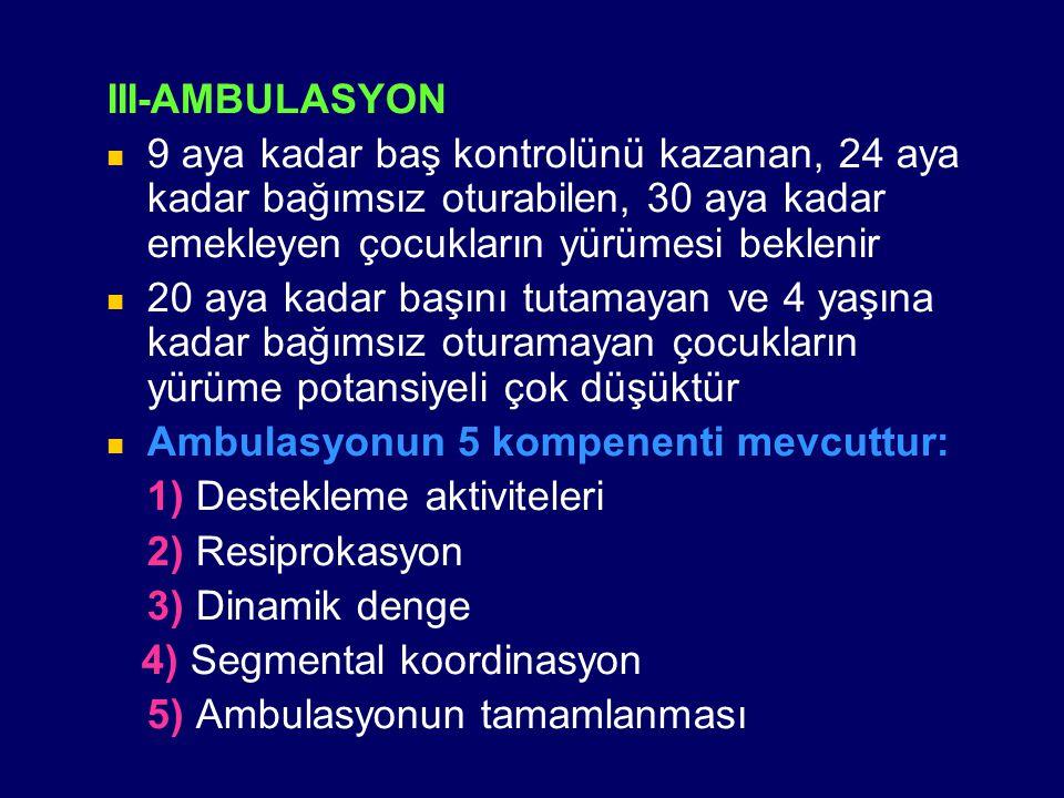 III-AMBULASYON 9 aya kadar baş kontrolünü kazanan, 24 aya kadar bağımsız oturabilen, 30 aya kadar emekleyen çocukların yürümesi beklenir.