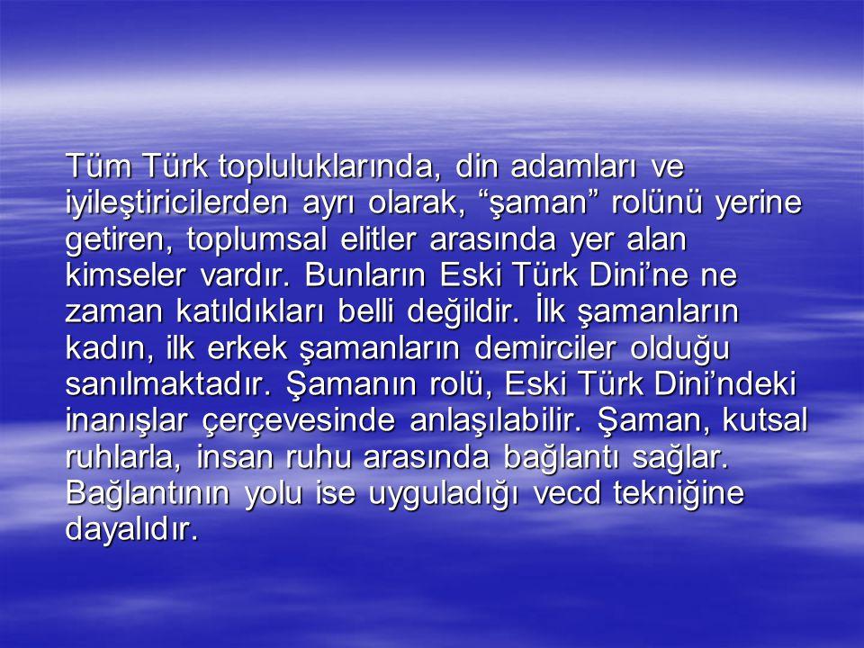 Tüm Türk topluluklarında, din adamları ve iyileştiricilerden ayrı olarak, şaman rolünü yerine getiren, toplumsal elitler arasında yer alan kimseler vardır.
