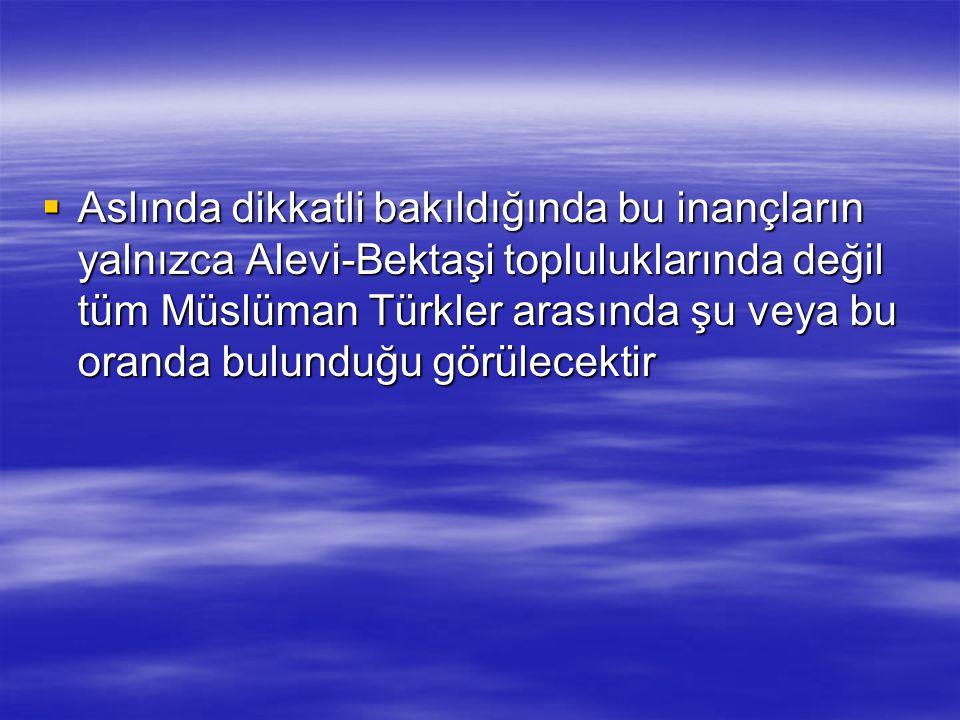Aslında dikkatli bakıldığında bu inançların yalnızca Alevi-Bektaşi topluluklarında değil tüm Müslüman Türkler arasında şu veya bu oranda bulunduğu görülecektir