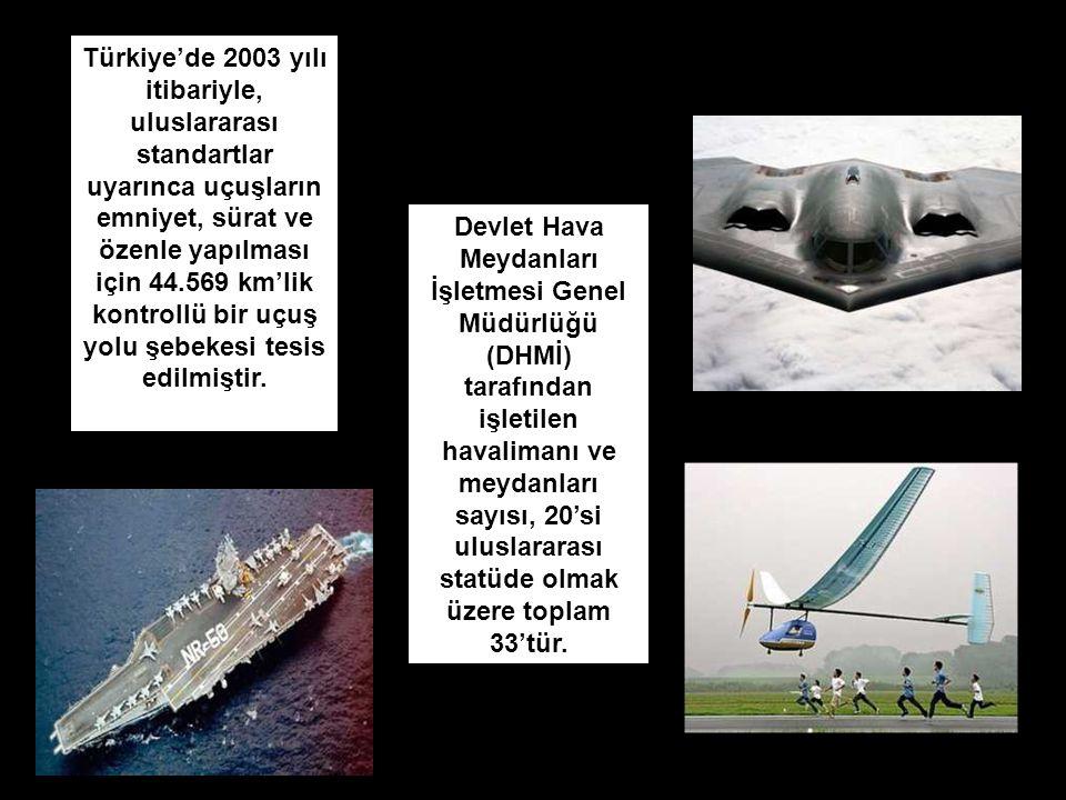 Türkiye'de 2003 yılı itibariyle, uluslararası standartlar uyarınca uçuşların emniyet, sürat ve özenle yapılması için 44.569 km'lik kontrollü bir uçuş yolu şebekesi tesis edilmiştir.