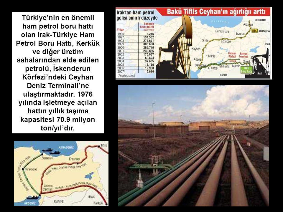 Türkiye'nin en önemli ham petrol boru hattı olan Irak-Türkiye Ham Petrol Boru Hattı, Kerkük ve diğer üretim sahalarından elde edilen petrolü, İskenderun Körfezi'ndeki Ceyhan Deniz Terminali'ne ulaştırmaktadır.