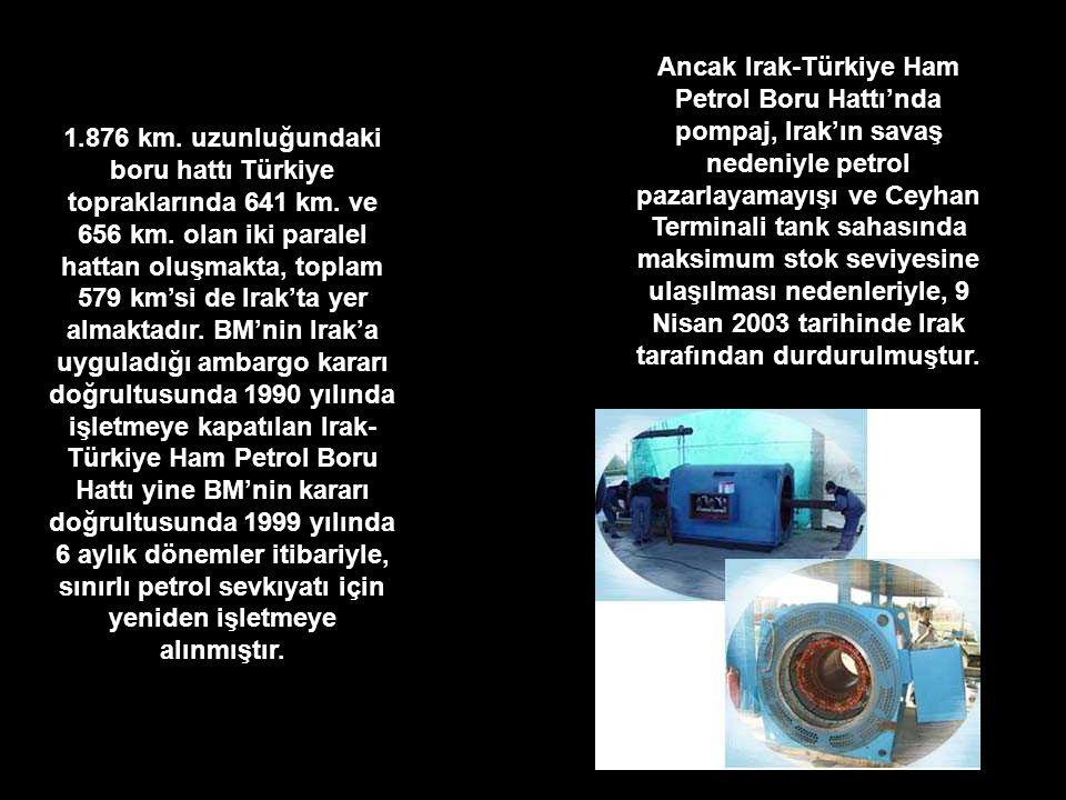 Ancak Irak-Türkiye Ham Petrol Boru Hattı'nda pompaj, Irak'ın savaş nedeniyle petrol pazarlayamayışı ve Ceyhan Terminali tank sahasında maksimum stok seviyesine ulaşılması nedenleriyle, 9 Nisan 2003 tarihinde Irak tarafından durdurulmuştur.