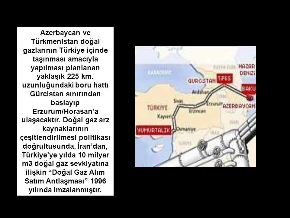 Azerbaycan ve Türkmenistan doğal gazlarının Türkiye içinde taşınması amacıyla yapılması planlanan yaklaşık 225 km.