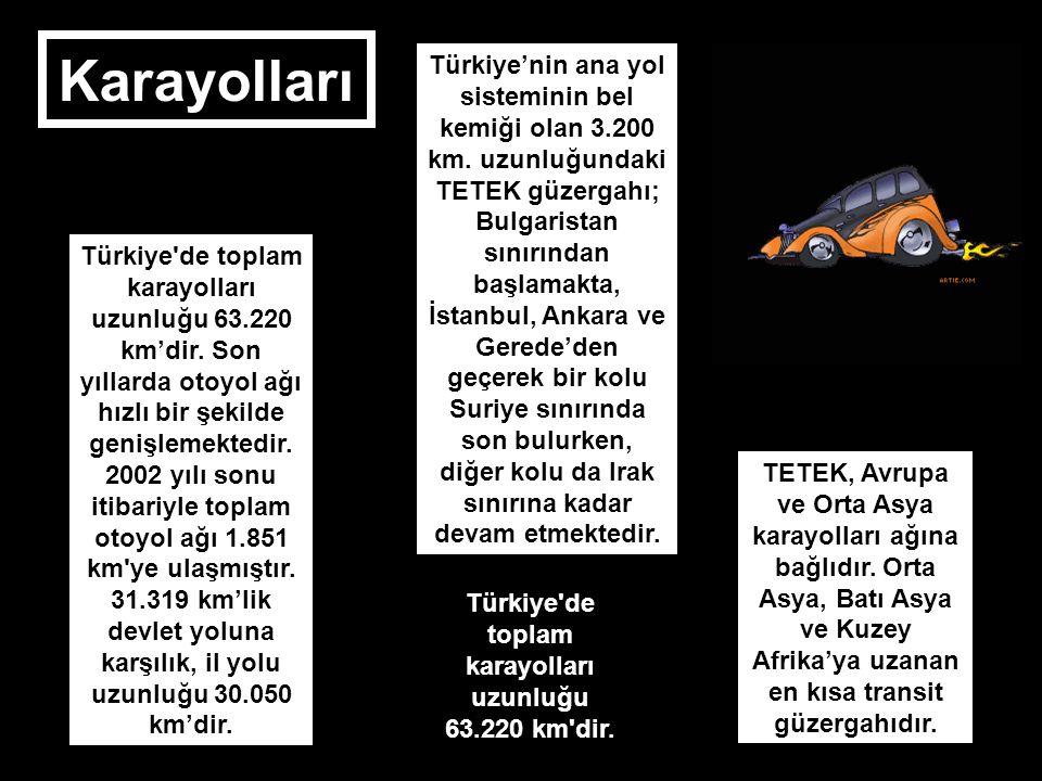 Türkiye de toplam karayolları uzunluğu