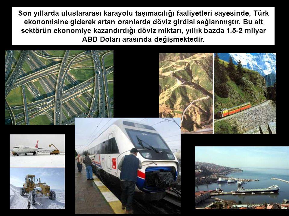 Son yıllarda uluslararası karayolu taşımacılığı faaliyetleri sayesinde, Türk ekonomisine giderek artan oranlarda döviz girdisi sağlanmıştır.