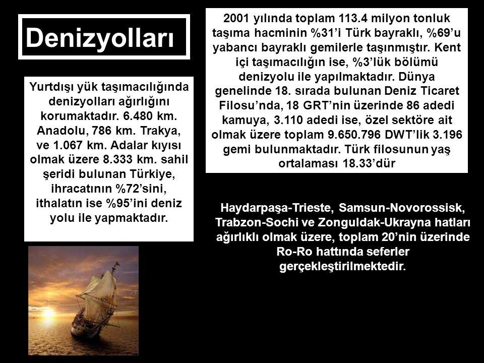 2001 yılında toplam 113.4 milyon tonluk taşıma hacminin %31'i Türk bayraklı, %69'u yabancı bayraklı gemilerle taşınmıştır. Kent içi taşımacılığın ise, %3'lük bölümü denizyolu ile yapılmaktadır. Dünya genelinde 18. sırada bulunan Deniz Ticaret Filosu'nda, 18 GRT'nin üzerinde 86 adedi kamuya, 3.110 adedi ise, özel sektöre ait olmak üzere toplam 9.650.796 DWT'lik 3.196 gemi bulunmaktadır. Türk filosunun yaş ortalaması 18.33'dür