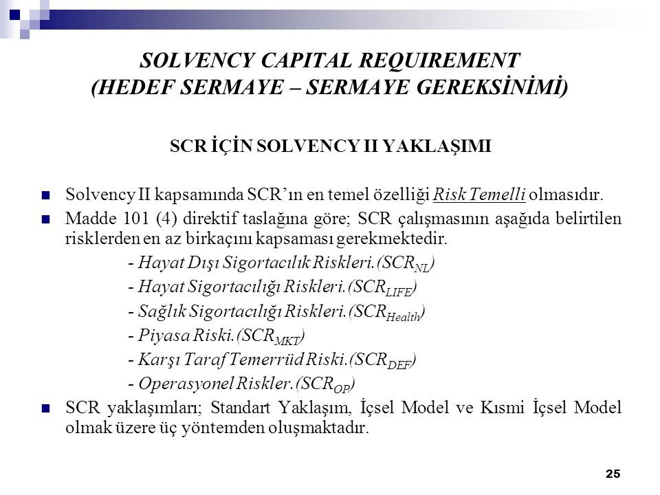 SOLVENCY CAPITAL REQUIREMENT (HEDEF SERMAYE – SERMAYE GEREKSİNİMİ)
