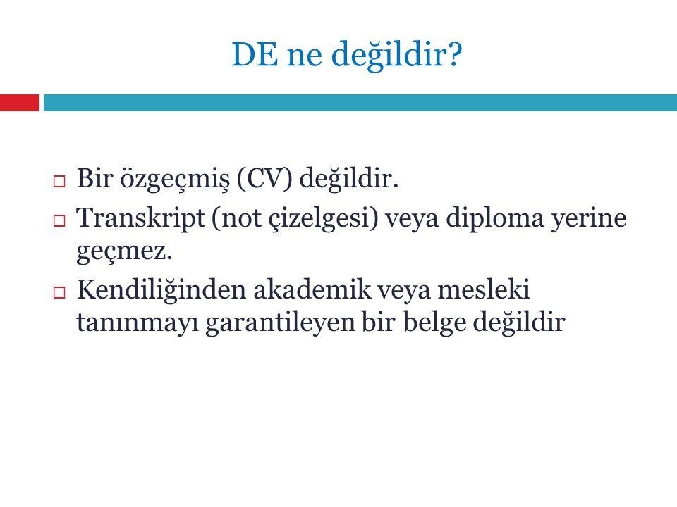 DE ne değildir Bir özgeçmiş (CV) değildir.