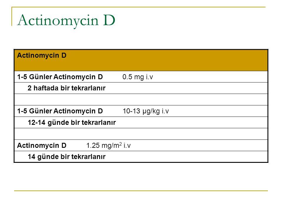 Actinomycin D Actinomycin D 1-5 Günler Actinomycin D 0.5 mg i.v