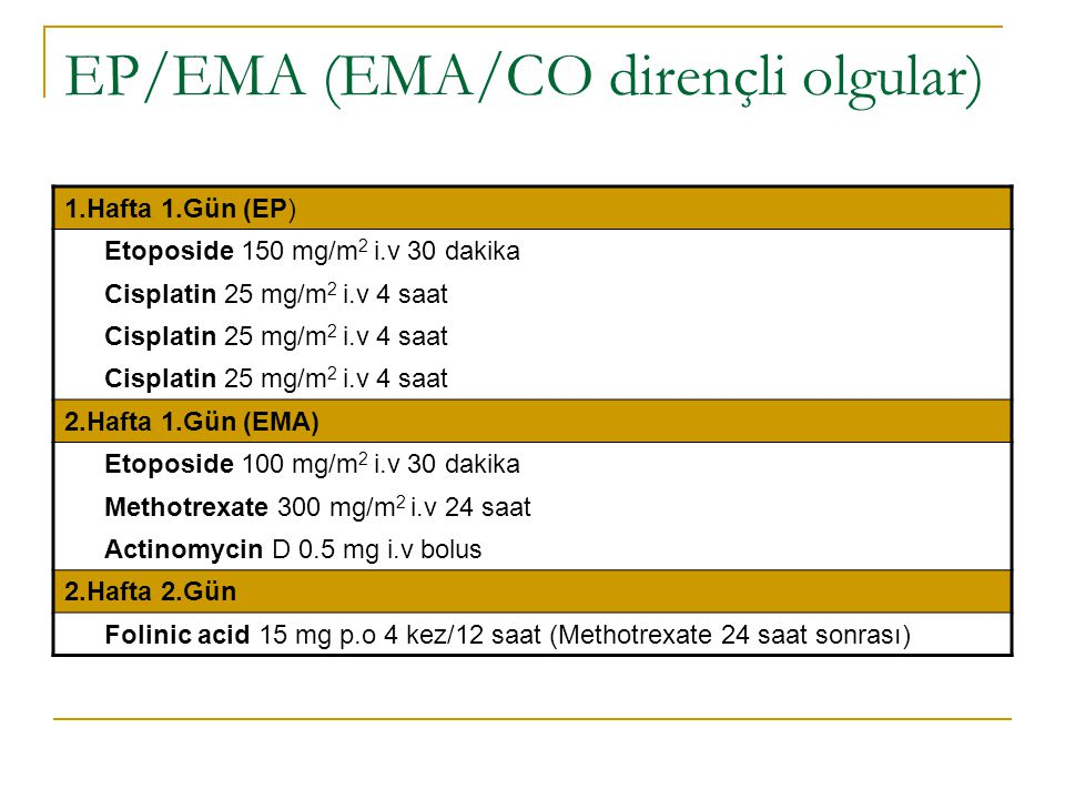EP/EMA (EMA/CO dirençli olgular)