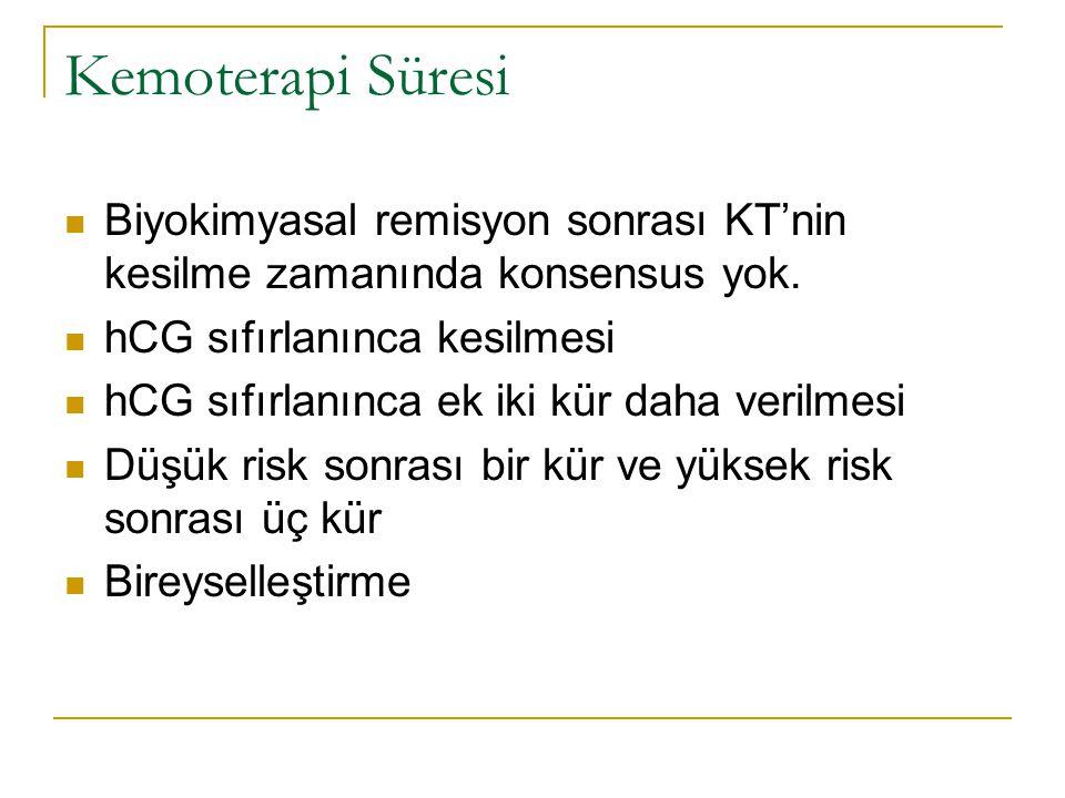Kemoterapi Süresi Biyokimyasal remisyon sonrası KT'nin kesilme zamanında konsensus yok. hCG sıfırlanınca kesilmesi.