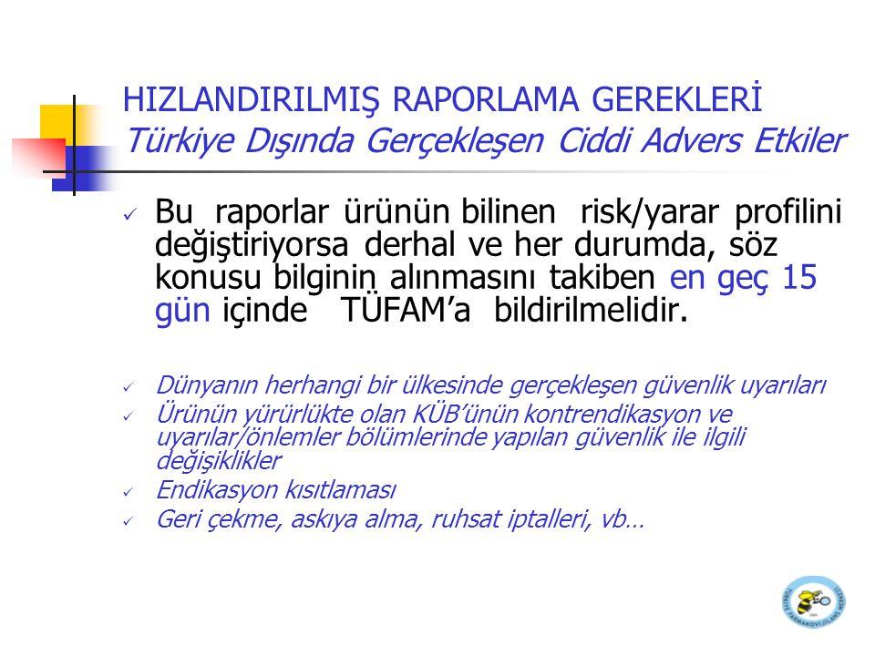 HIZLANDIRILMIŞ RAPORLAMA GEREKLERİ Türkiye Dışında Gerçekleşen Ciddi Advers Etkiler