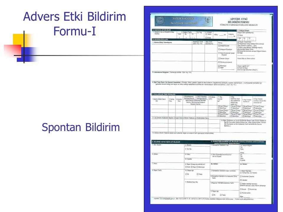 Advers Etki Bildirim Formu-I