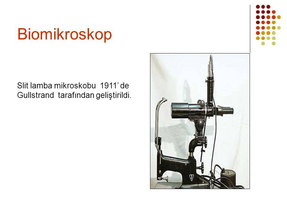Biomikroskop Slit lamba mikroskobu 1911' de Gullstrand tarafından geliştirildi.