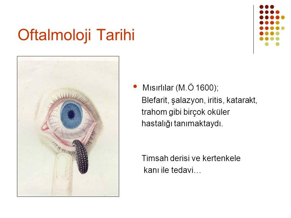 Oftalmoloji Tarihi  Mısırlılar (M.Ö 1600);