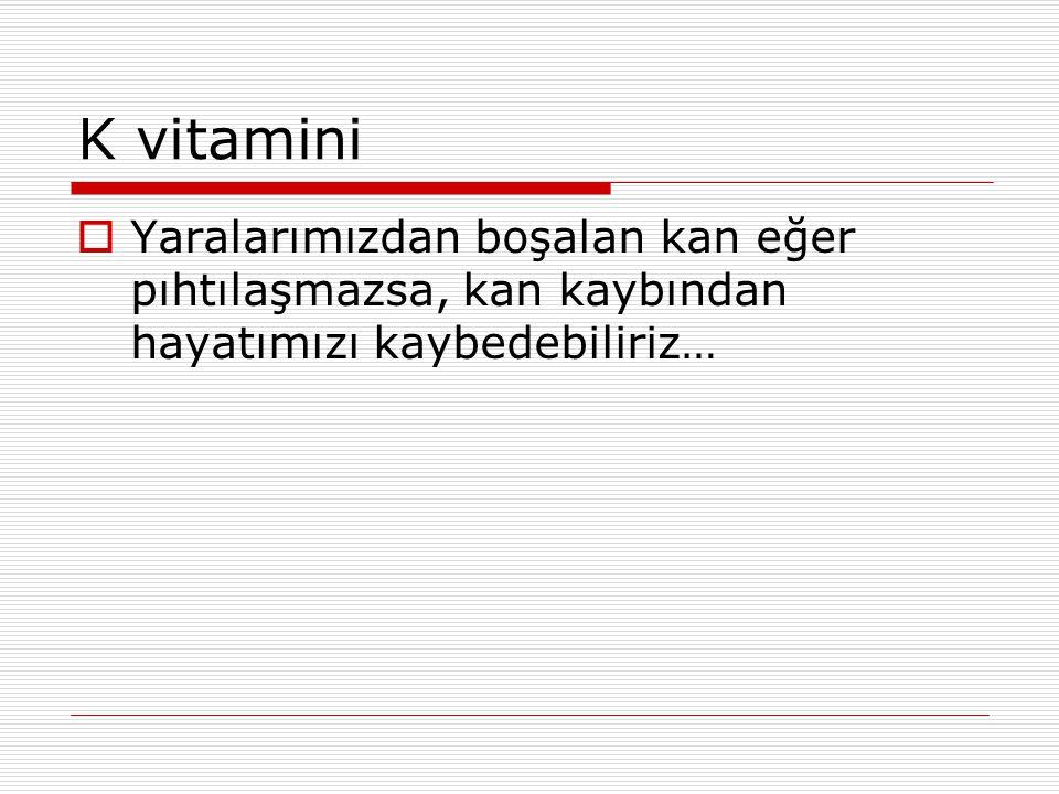 K vitamini Yaralarımızdan boşalan kan eğer pıhtılaşmazsa, kan kaybından hayatımızı kaybedebiliriz…