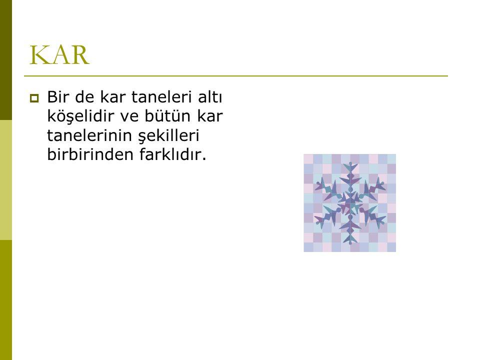 KAR Bir de kar taneleri altı köşelidir ve bütün kar tanelerinin şekilleri birbirinden farklıdır.