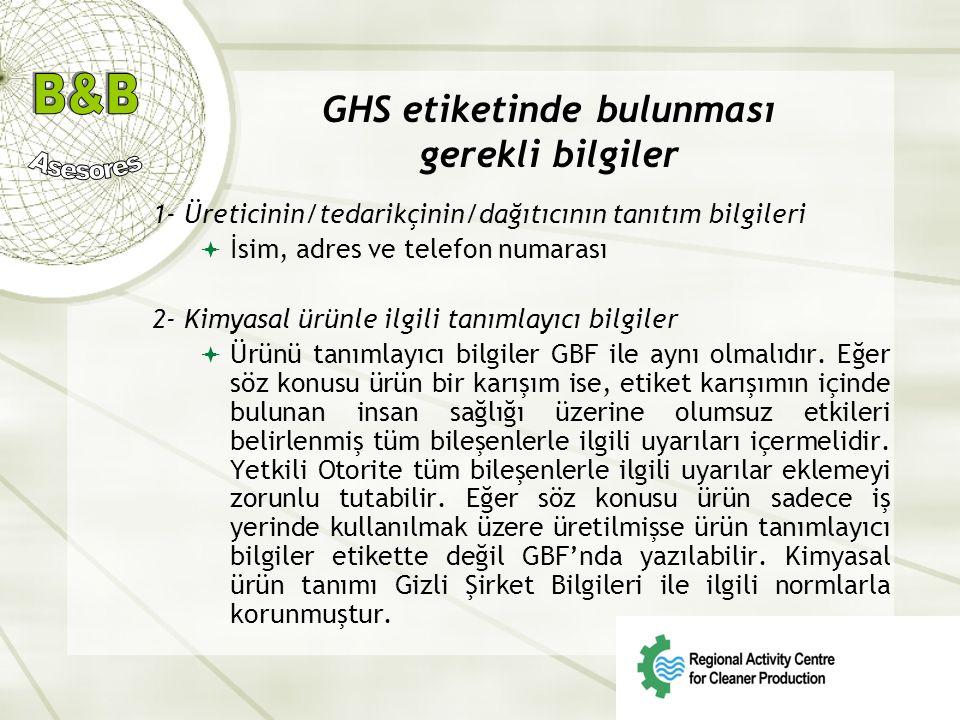 GHS etiketinde bulunması gerekli bilgiler