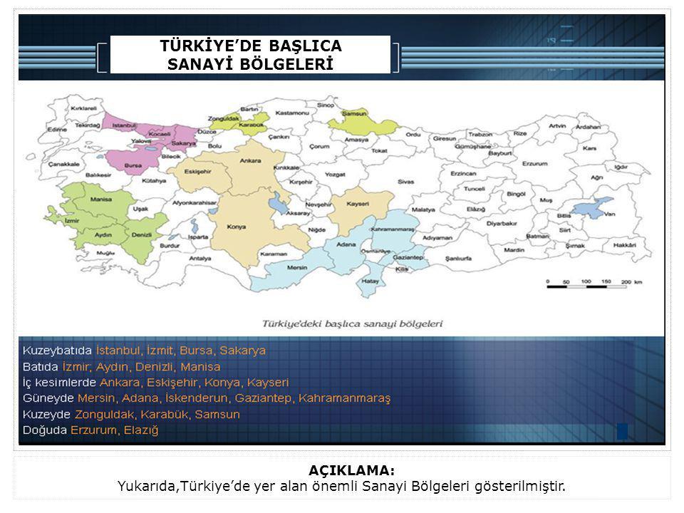 Yukarıda,Türkiye'de yer alan önemli Sanayi Bölgeleri gösterilmiştir.