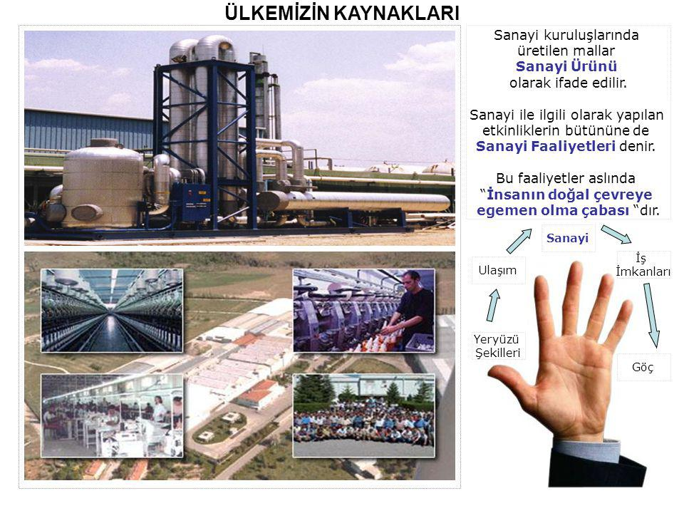 ÜLKEMİZİN KAYNAKLARI Sanayi kuruluşlarında üretilen mallar