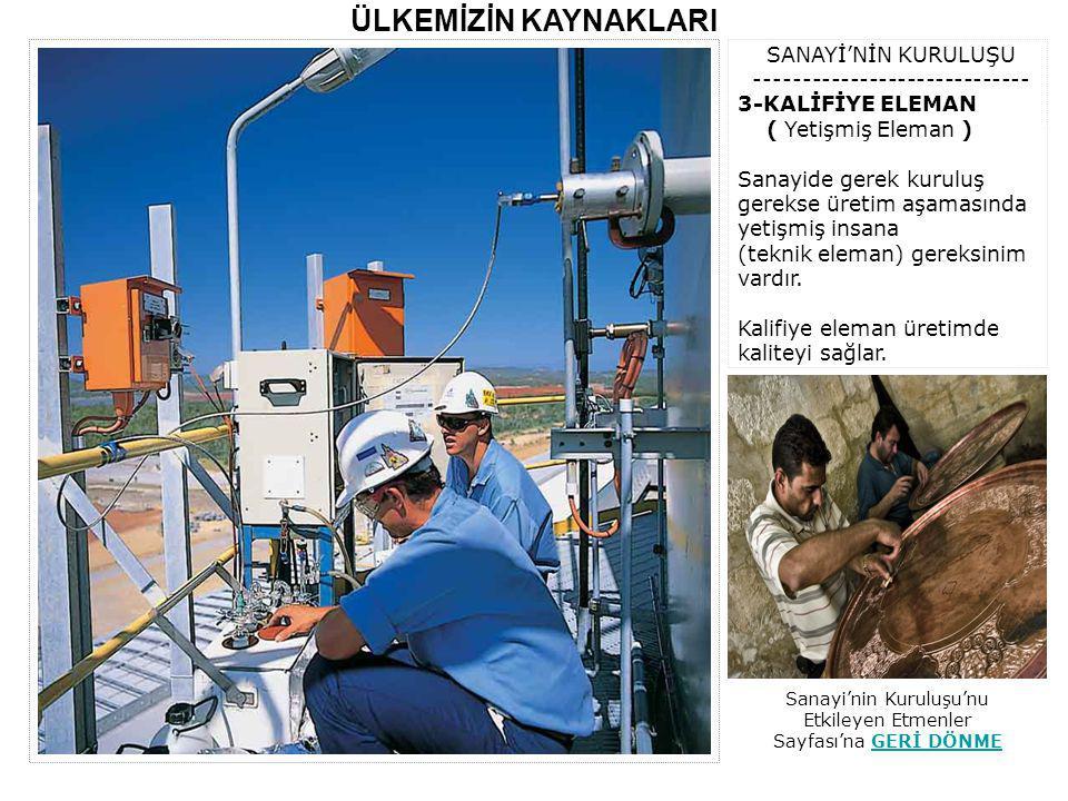 Sanayi'nin Kuruluşu'nu Etkileyen Etmenler Sayfası'na GERİ DÖNME