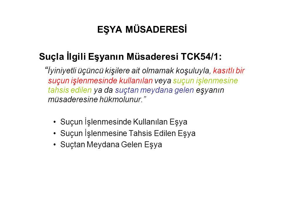 Suçla İlgili Eşyanın Müsaderesi TCK54/1: