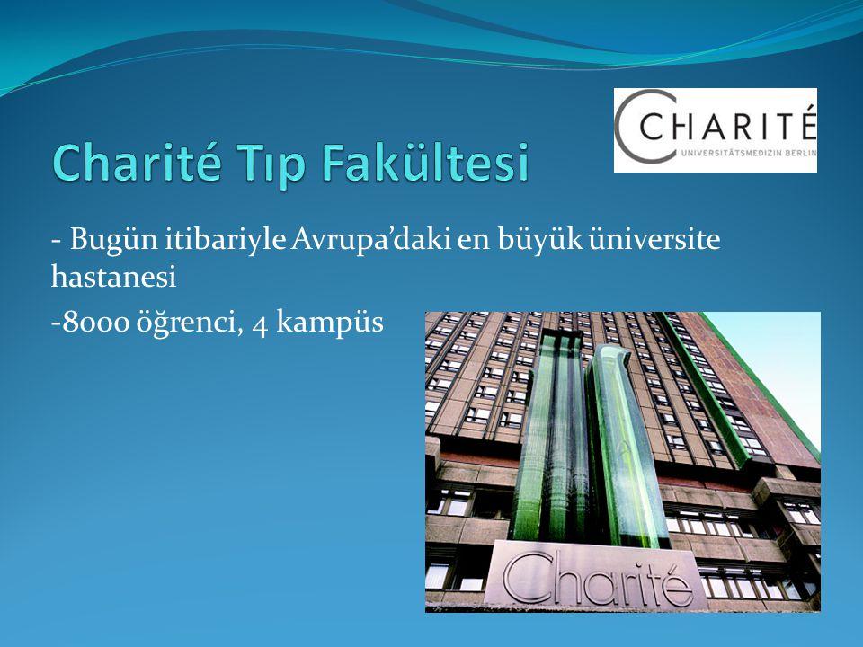 Charité Tıp Fakültesi - Bugün itibariyle Avrupa'daki en büyük üniversite hastanesi.