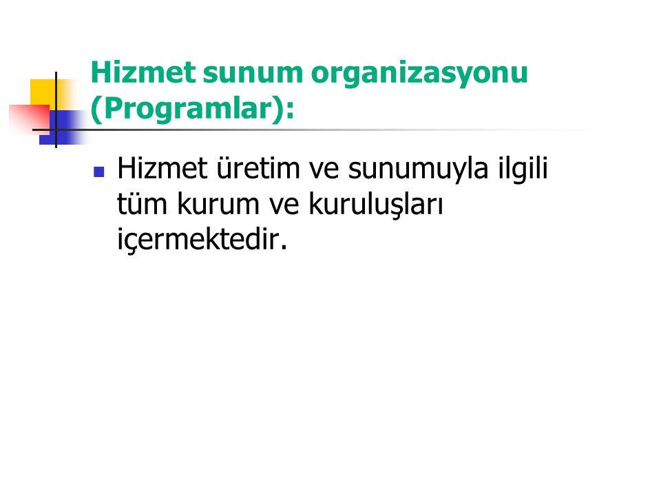 Hizmet sunum organizasyonu (Programlar):
