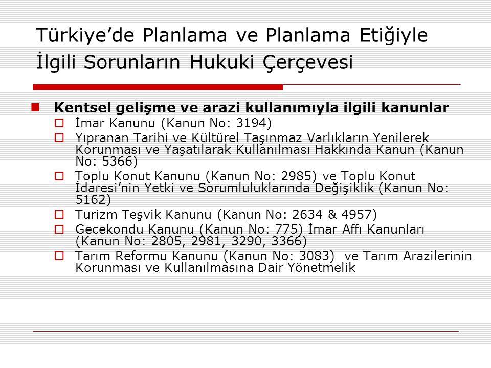 Türkiye'de Planlama ve Planlama Etiğiyle İlgili Sorunların Hukuki Çerçevesi