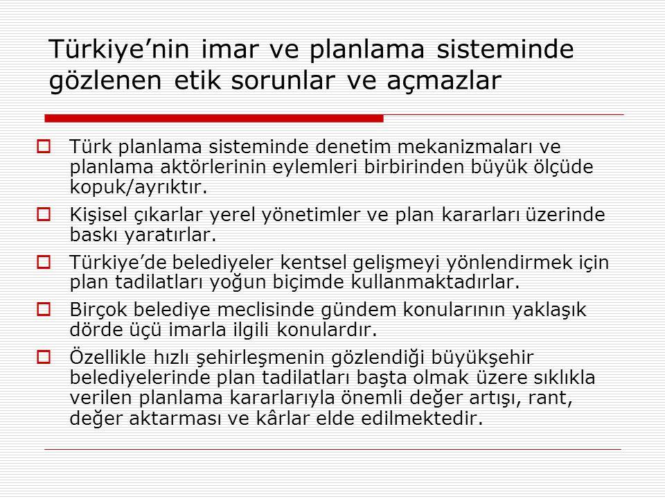 Türkiye'nin imar ve planlama sisteminde gözlenen etik sorunlar ve açmazlar