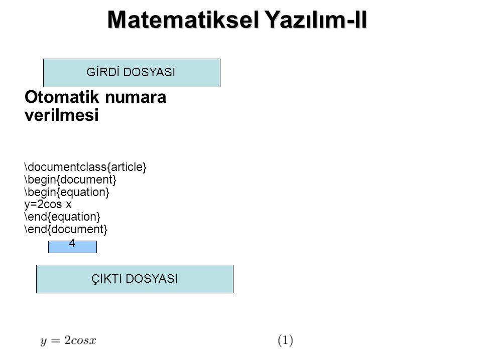 Matematiksel Yazılım-II