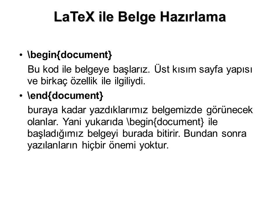 LaTeX ile Belge Hazırlama