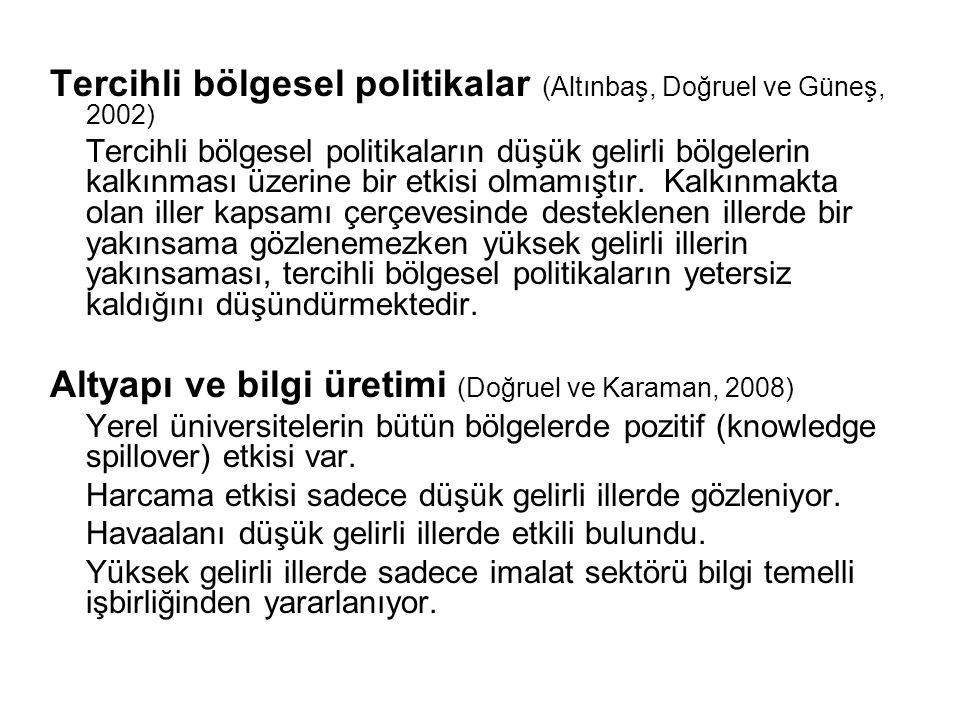Tercihli bölgesel politikalar (Altınbaş, Doğruel ve Güneş, 2002)