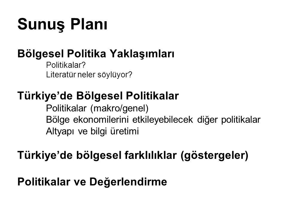 Sunuş Planı Bölgesel Politika Yaklaşımları