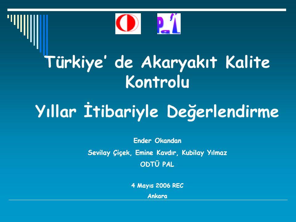 Türkiye' de Akaryakıt Kalite Kontrolu Yıllar İtibariyle Değerlendirme