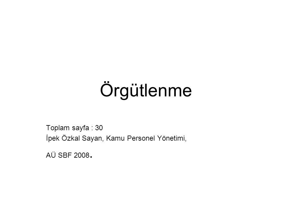 Örgütlenme Toplam sayfa : 30 İpek Özkal Sayan, Kamu Personel Yönetimi,