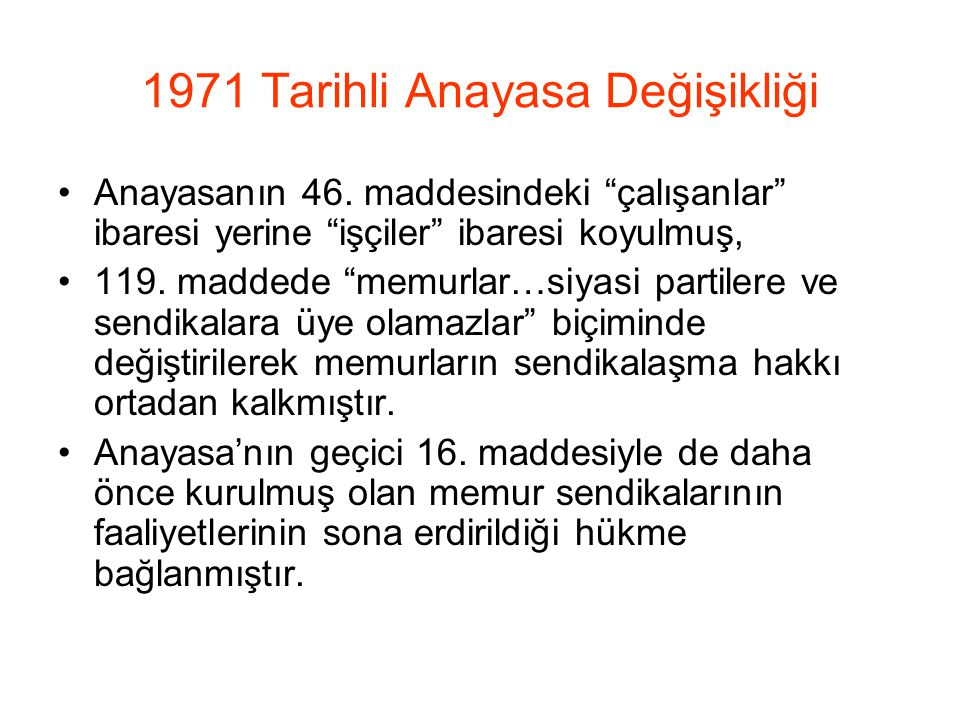 1971 Tarihli Anayasa Değişikliği