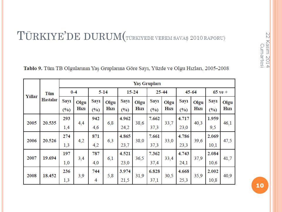 Türkiye'de durum(türkiyede verem savaş 2010 raporu)