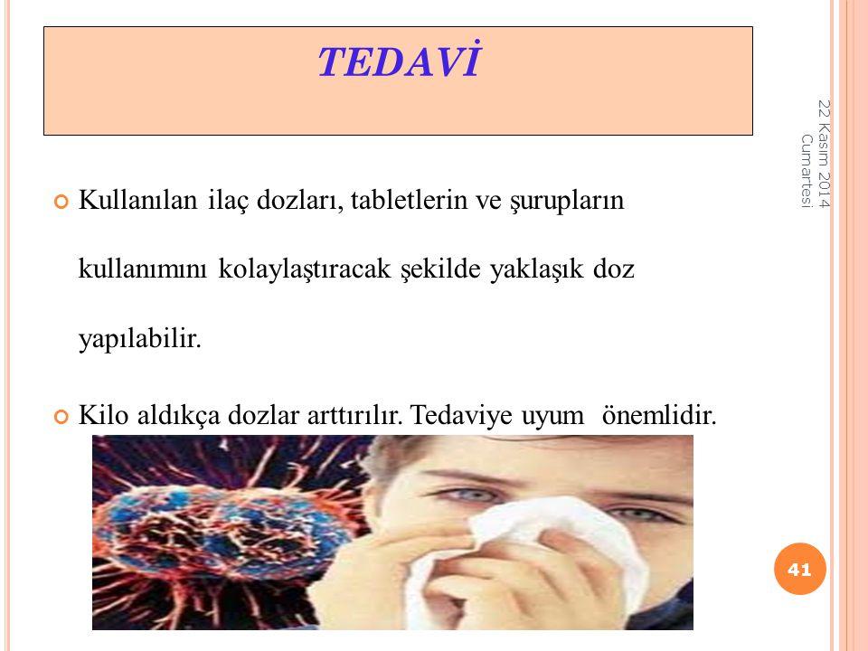 TEDAVİ 07 Nisan 2017 Cuma. Kullanılan ilaç dozları, tabletlerin ve şurupların kullanımını kolaylaştıracak şekilde yaklaşık doz yapılabilir.