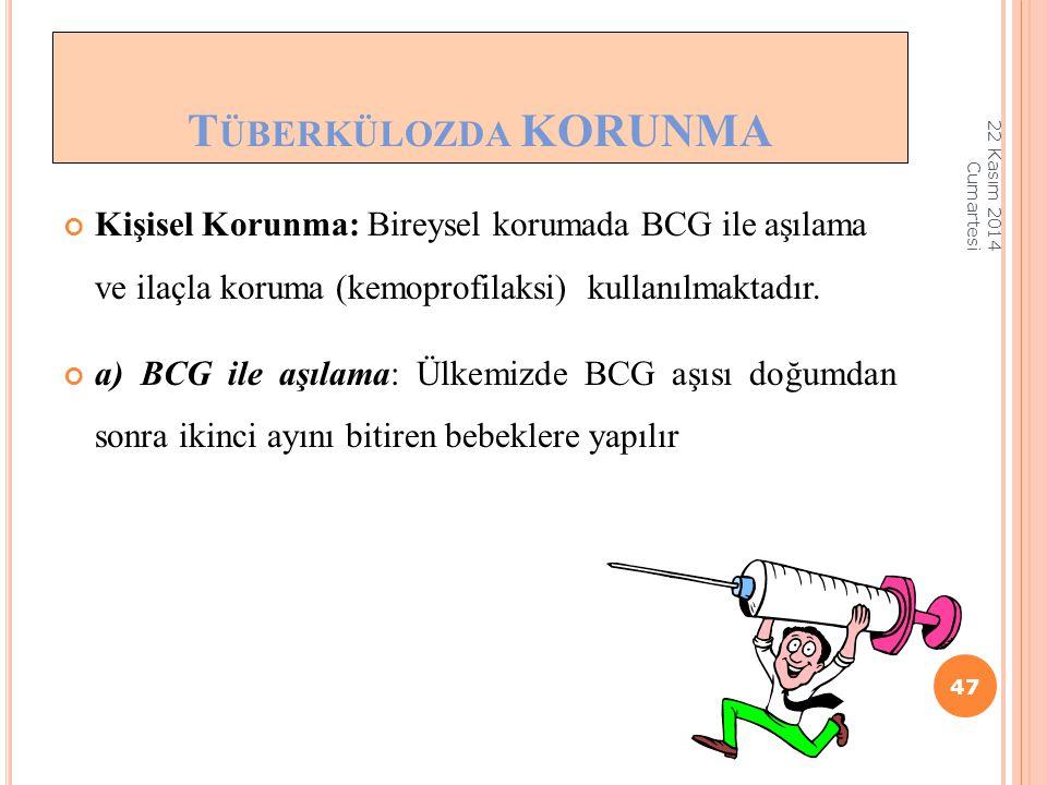 Tüberkülozda KORUNMA 07 Nisan 2017 Cuma. Kişisel Korunma: Bireysel korumada BCG ile aşılama ve ilaçla koruma (kemoprofilaksi) kullanılmaktadır.