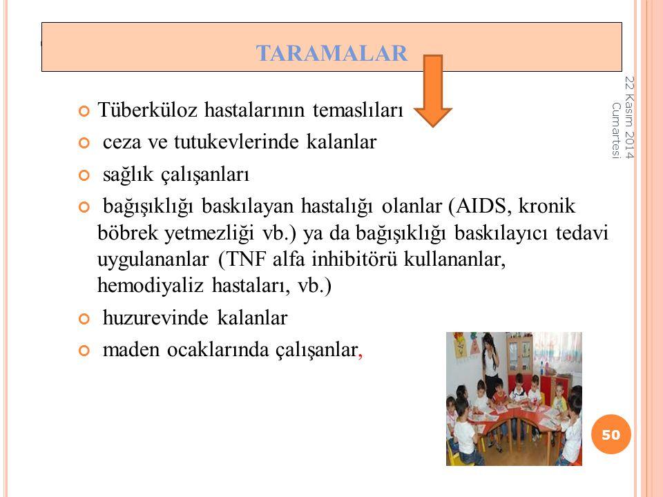 taramalar Taramalar Tüberküloz hastalarının temaslıları