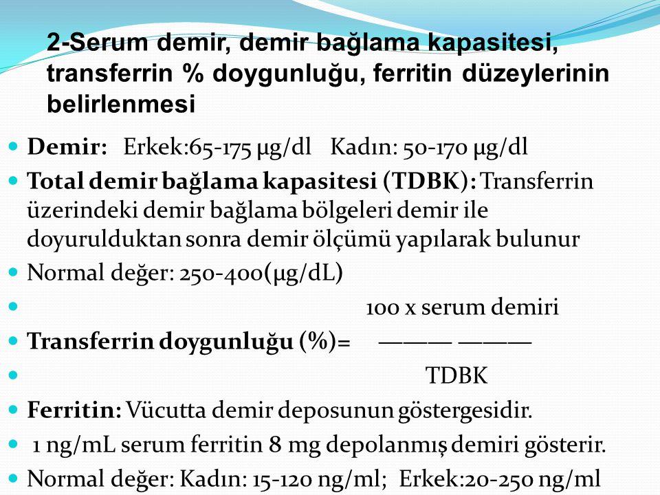 2-Serum demir, demir bağlama kapasitesi, transferrin % doygunluğu, ferritin düzeylerinin belirlenmesi