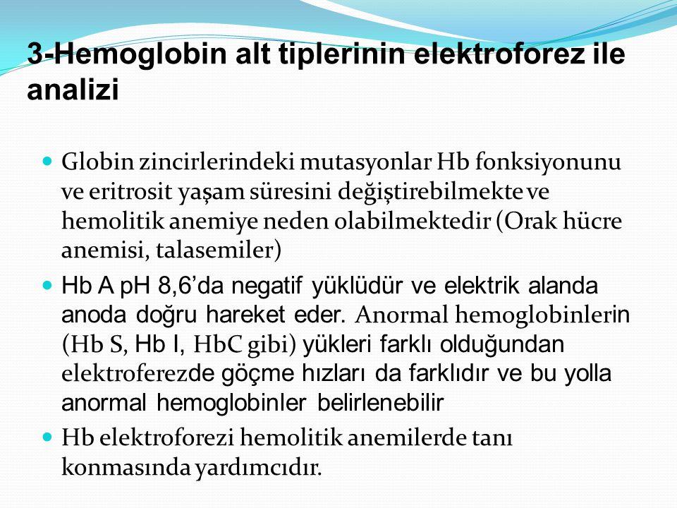 3-Hemoglobin alt tiplerinin elektroforez ile analizi