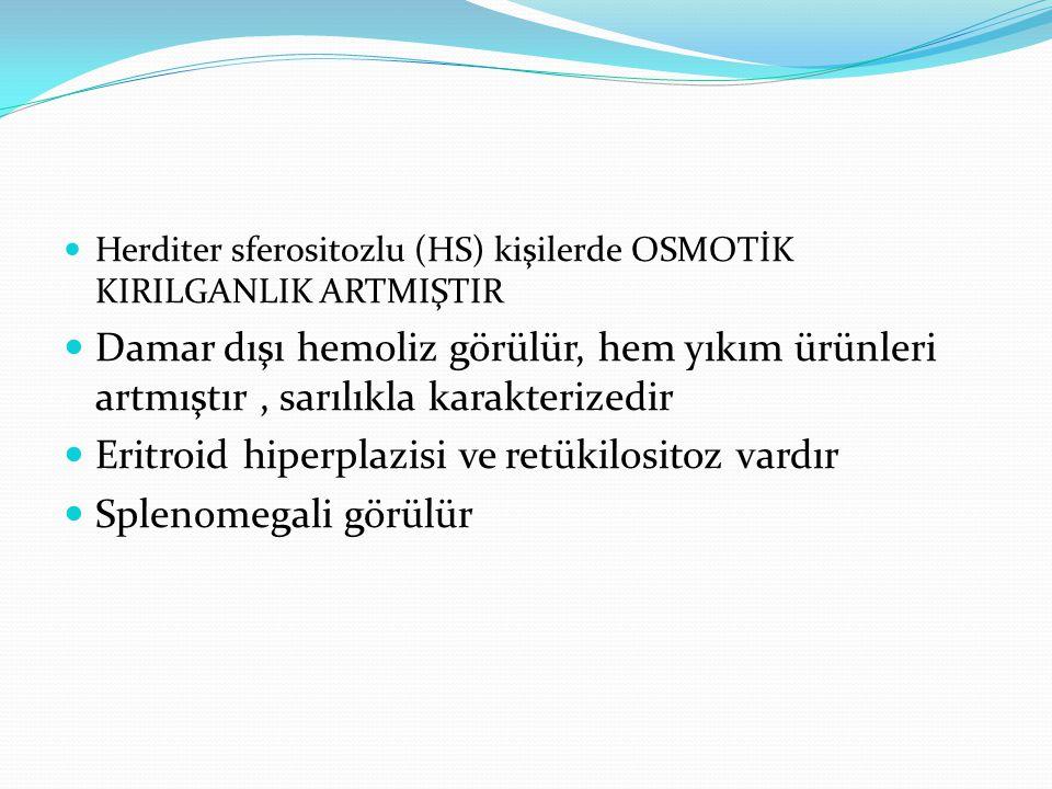 Eritroid hiperplazisi ve retükilositoz vardır Splenomegali görülür