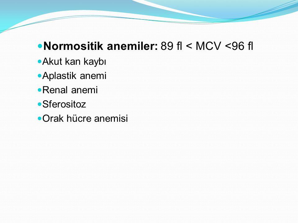 Normositik anemiler: 89 fl < MCV <96 fl