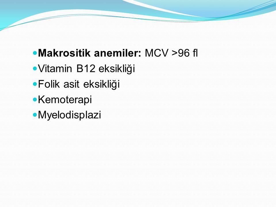 Makrositik anemiler: MCV >96 fl